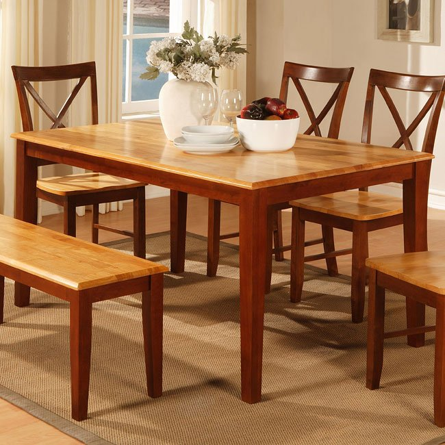 Furniture dining room furniture cherry 2 tone cherry for 2 tone dining room tables