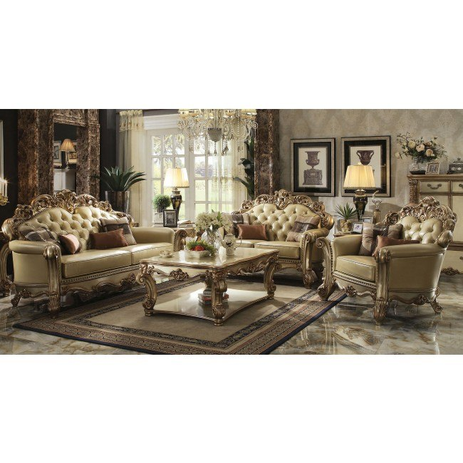 Vendome Living Room Set (Gold Patina / Bone PU)