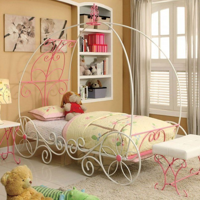 Enchant Youth Canopy Bed (Pink and White)