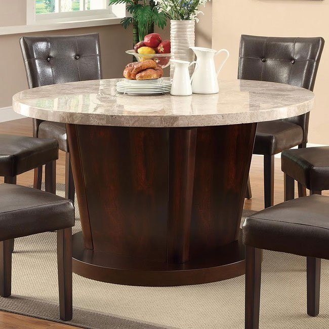 Milton Round Dining Table w/ Light Marble Top