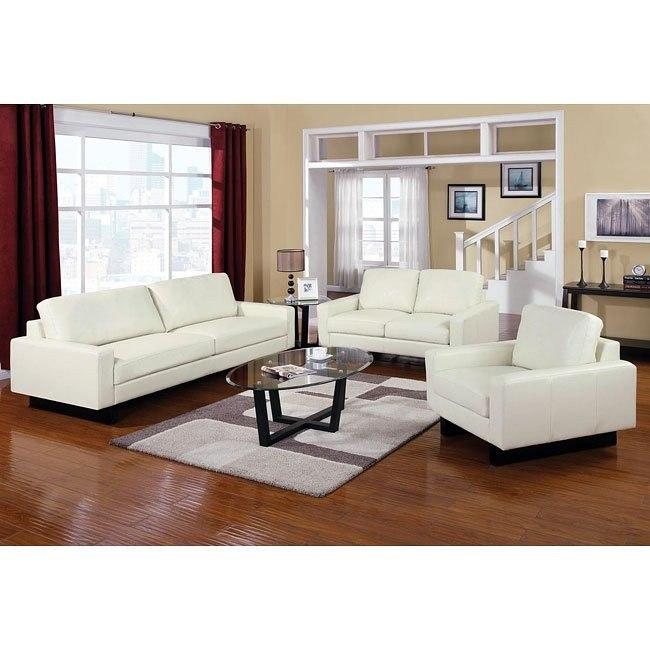 Ava Modern Living Room Set (Cream)