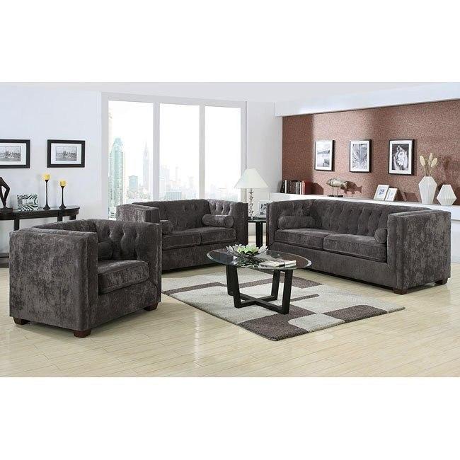 Alexis Living Room Set (Charcoal)