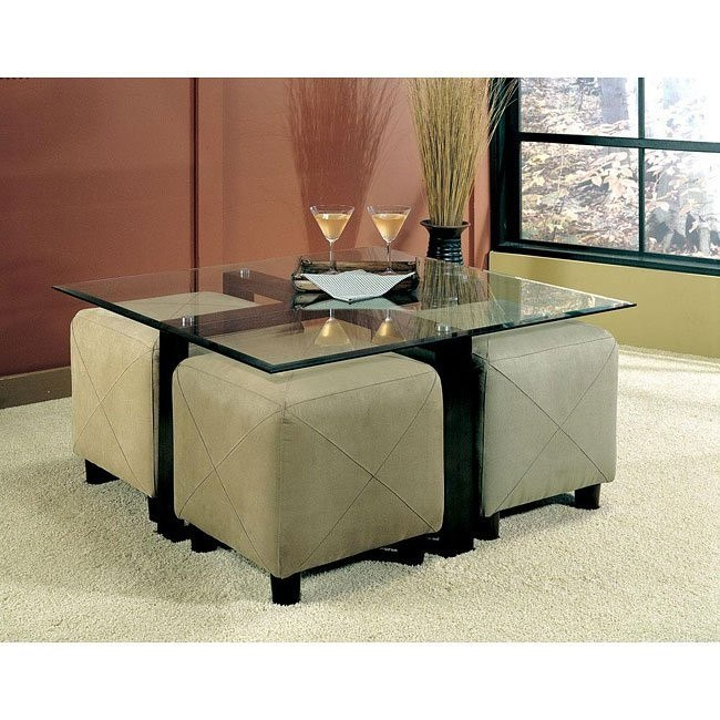 Cermak Customizable Coffee Table Set w/ Ottomans