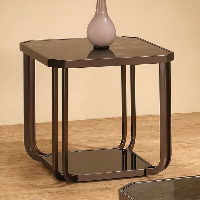 Black Tempered Glass End Table