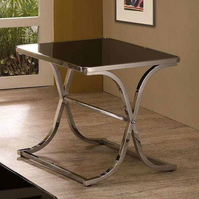 Black Glass Top End Table