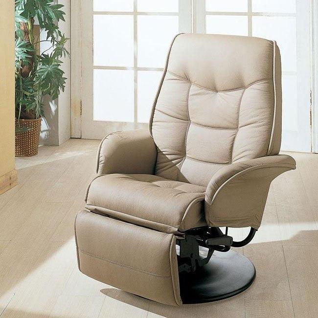 Leather-Like Swivel Recliner (Beige)