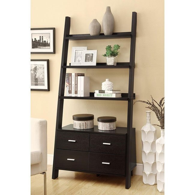 Leaning Ladder Bookshelf with Drawers