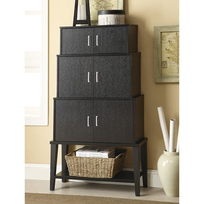 Modern Stacked Style Accent Cabinet