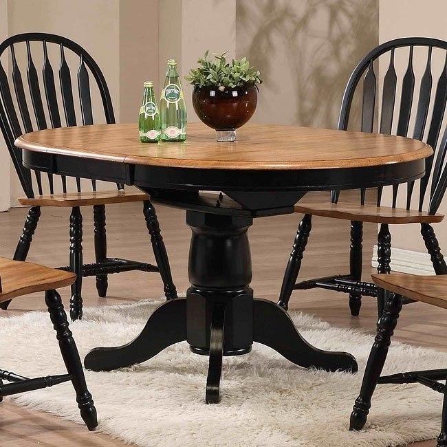 Missouri Round Dining Table (Black/ Rustic Oak)