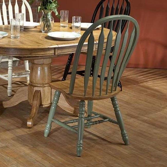 Missouri Side Chair (Set of 2) (Green/ Rustic Oak)