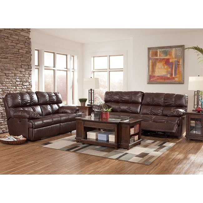 Rashane DuraBlend - Saddle Reclining Living Room Set w/ Power