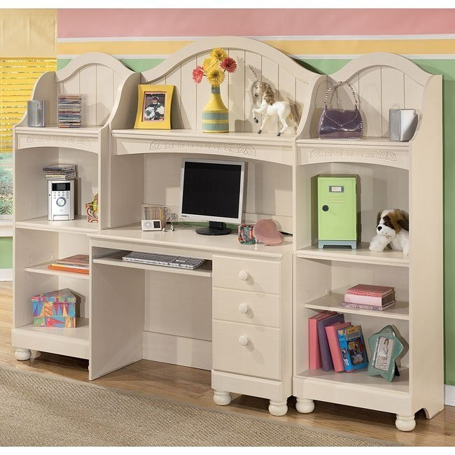 Cottage Retreat Desk with Hutch and Bookshelf